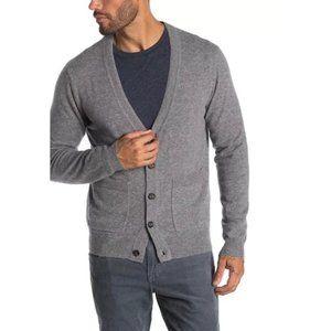 NWT Qi Cashmere V Neck Cardigan Sweater Grey XL